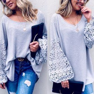 Balloon Sleeve Textured Knit BOHO Top